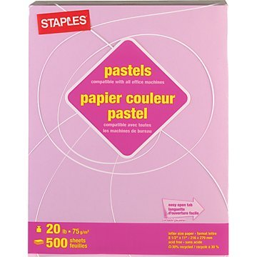 """Staples® Pastels 30% Recycled Colored Copy Paper, 8 1/2"""" x 11"""", 20 lb., Lilac, 500 Sheets/Rm"""