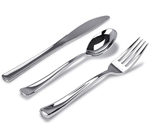 Stock Your Home 300 Silver Plastic Cutlery Set - Elegant Plastic Silverware - Disposable Flatware - 100 Plastic Forks, 100 Plastic Spoons, 100 Plastic Knives Heavy Duty Silverware for Party Bulk