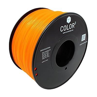 ColorCubed PLA Premium 3D Printer Filament 1kg Spool, 1.75mm, Translucent Orange