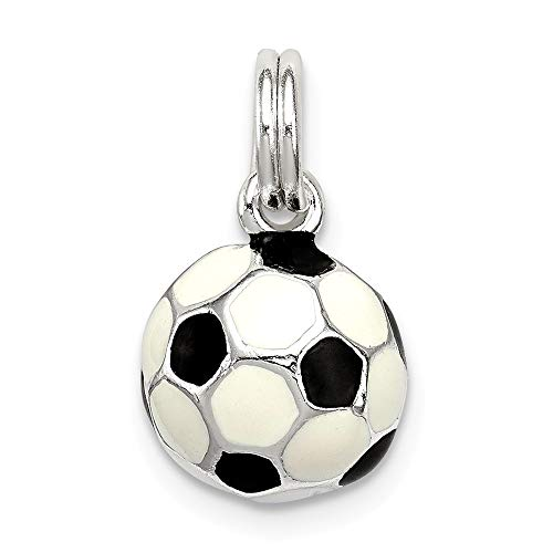 Jewelry Pendants & Charms Themed Charms Sterling Silver Black and White Enameled Soccer Ball Charm