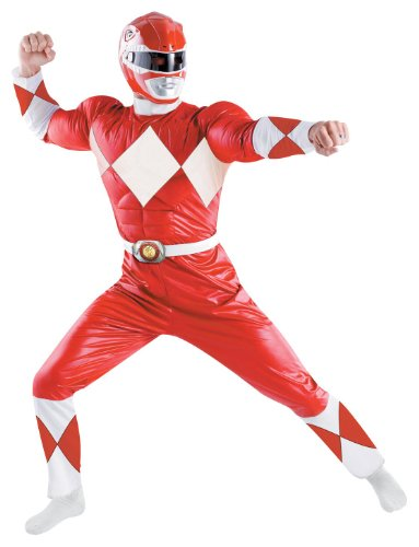 [Disguise Men's Saban Power Rnagers Mighty Morphin Red Ranger Classic Muscle Costume, Red/White, X-Large] (Power Rangers Costume With Helmet)