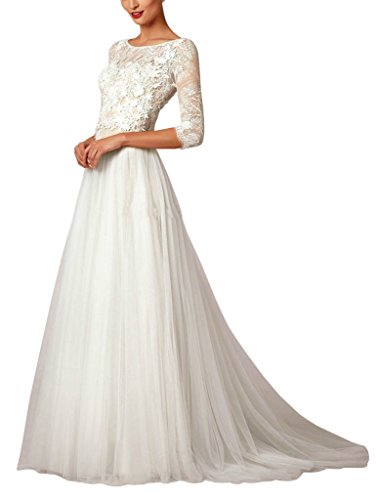 Kevins Bridal Vintage 2017 A Line Lace Appliques Beach Wedding Dress Half Sleeve