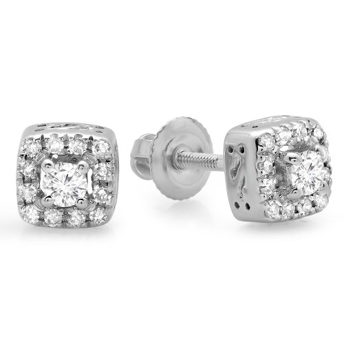 Fingalo 0.25 Carat (ctw) 10K White Gold Round Cut Diamond Ladies Square Frame Halo Stud Earrings 1/4 CT