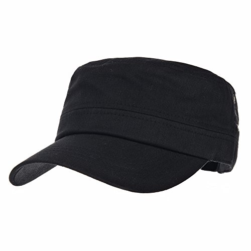 WITHMOONS Cadet Cap Herringbone Cotton Simple Adjustable Hat CR4266 (Black)