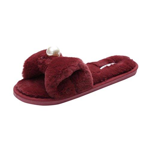 38 Glissez vin Slipper Diapositives Plat Femme en Flip sur du Fausse Fluffy Les Sandal Flop Claquette Chaussures Rawdah Fourrure Tongs EU gAqwpp
