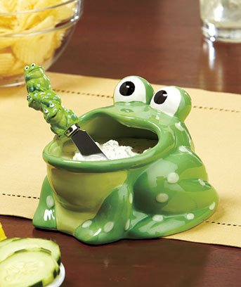 - Frog Shaped Novelty Dip Bowl and Spreader Party Set