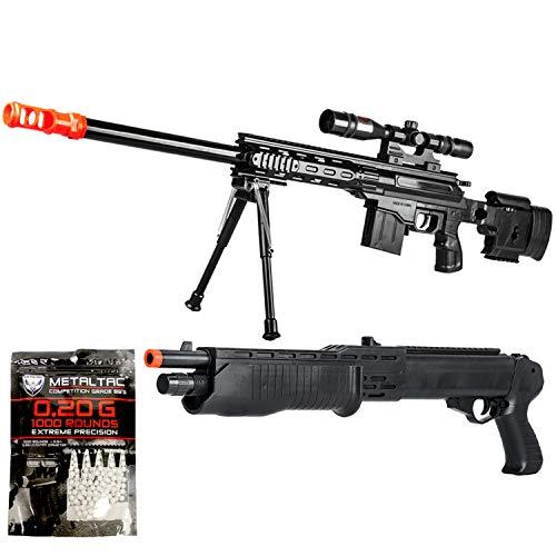 BBTac Airsoft Gun Package - American Sniper II - Powerful Spring Airsoft Rifle, Shotgun, and BB Pellets, Great for Starter Pack Game Play ()