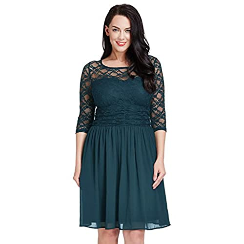 LookbookStore Womens Plus Size Peacock Lace Top Chiffon Skirt A-Line Skater Formal Dress 22W