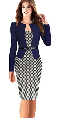 Babyonline® Women Wear to Work Business  One-piece Dress (L, Small Houndstoothl)