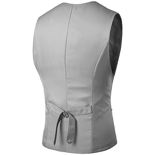 Gray Designed Slim Solid 4 Skinny Color Fit YFFUSHI Vest Dress Mens Casual Formal B5Pq5Hng