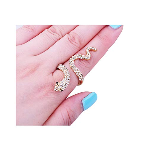 White Ring Snake Gold (Dwcly Gold Color Snake Ring with Crystal Finger Nail Crystal Ring for Women Girl Fashion Jewelry (Crystal Gold))