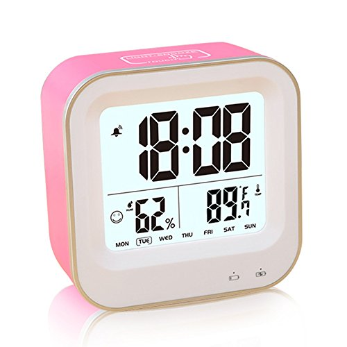- FAMICOZY Rechargeable Alarm Clock,Desk Travel Alarm Clock,Repeating Snooze,Week 12/24h Format,Auto Low Nightlight,Temperature Humidity Display,Hot Pink