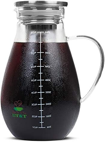 BT T- Cold Brew Coffee Maker, Iced Coffee Maker, 2 Liter 2 Quart, 64 oz , Iced Tea Maker, Cold Brew Maker, Tea Pitcher, Coffee Accessories, Iced Tea Pitcher, Cold Brew System, Cold Brew Pitcher