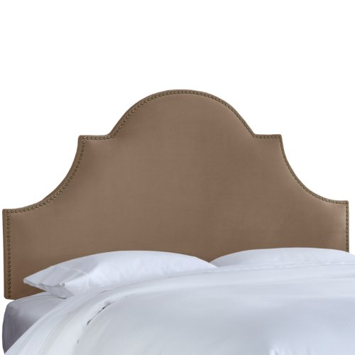 il Button High Arch Notched Headboard, Queen, Velvet Cocoa (Arch Nail Button Headboard)