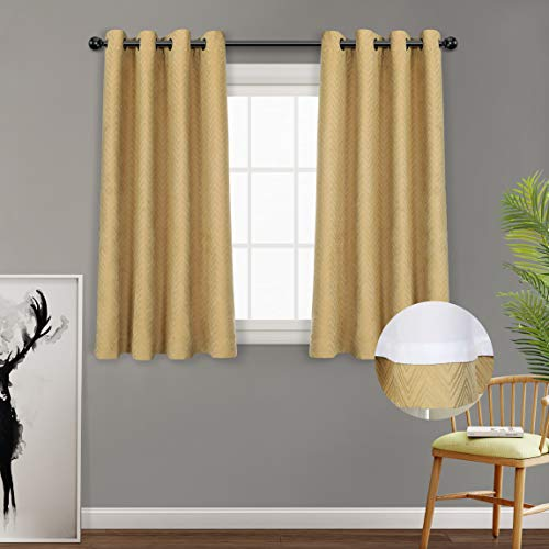 MYSKY HOME Double Layer Window Curtain Preminum Faux Velvet Jacquard Chevron Pattern Grommet Lined Thermal Curtain for Bedroom, 52