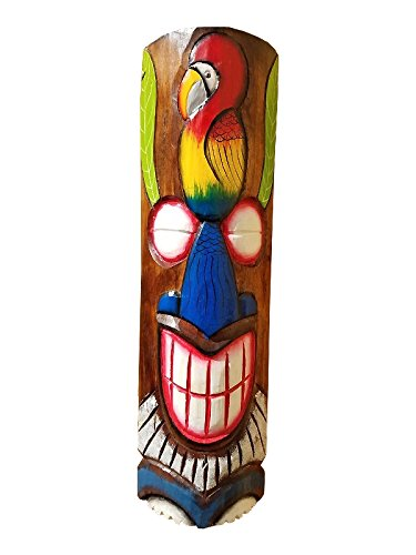 """20"""" Handcarved Wood Tiki Mask Hawaiian Beach Style Colorful Parrot"""