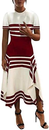 Women`s Summer Dresses Short Sleeve Sleeveless Casual Long Midi Dress Fashion Scoop Neck Striped Dresses Chaofanjiancai / Women`s Summer Dresses Short Sleeve Sleeveless Casual Long Midi Dress Fashion Scoop Neck Striped Dresses Chao...