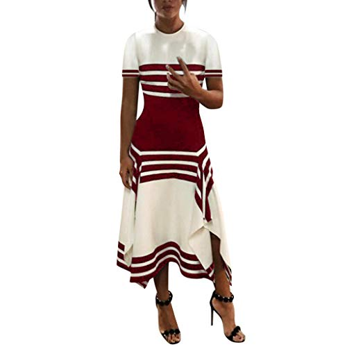 WEISUN Women Stripe Dresses Casual Sleeve Dress Women Round Neck Vestido Midi Party Dresses Red