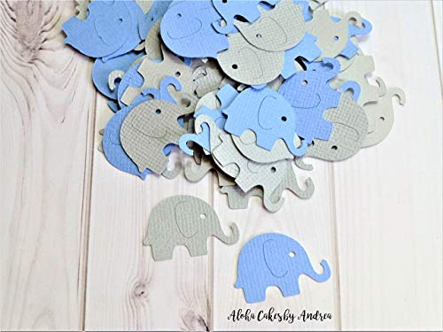 Blue and Gray Elephants, (1 pack of 100) Table Confetti, Its a Boy Baby Shower Decoration, Elephant Theme and Ideas for a Party