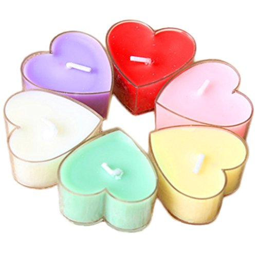 (Da.Wa 12Pcs Heart Shaped Scented Candles Natural Fragrance Soy Wax Portable Travel Home Fragrance Tin Candle)