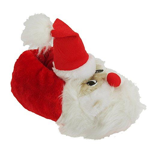 Universelle Tekstiler Kvinner / Damer Fluffy Christmas Santa Tøfler Med 3d Detaljer Rød / Hvit