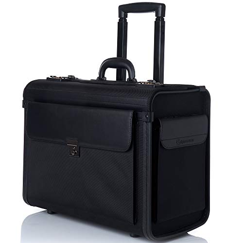 "Alpine Swiss Rolling 17"" Laptop Briefcase on Wheels Attache Lawyers Case Legal Size Black"