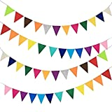 Misscrafts 4Pack 2.5m/2.7ft Garland Banner Felt Board 1mm Thick Triangle Bundles Rainbow Colors