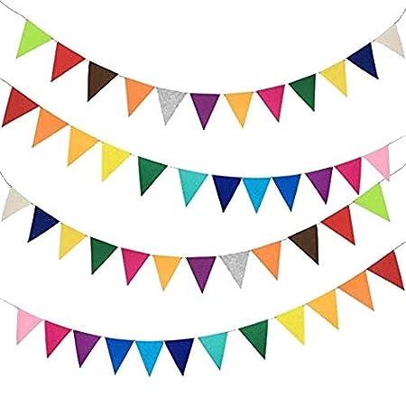 Misscrafts 2.5m/2.7ft Garland Banner Felt Board 1mm Thick Triangle Bundles Rainbow Colors
