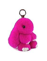 Bunny Keychain Cute Rex Rabbit Fur Keychain Car Handbag Keyring pom pom keychain 18CM