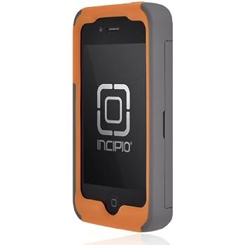 Incipio IPH-678 Stowaway Credit Card Case for iPhone 4/4S - Retail Packaging - Dark Gray/Orange