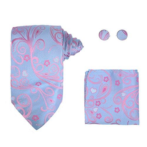 Y&G H6101 Blue Pattern Various Presents Silk Ties Cufflinks Hanky Birthday Gifts Set ()