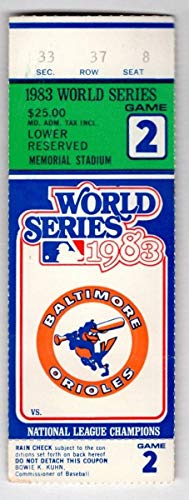 1983 Phillies V. Orioles World Series Game 2 Ticket Stub Lowenstein HR 129047