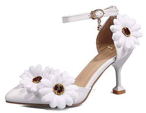 Femme Aisun Blanc heel Escarpins Fleurs Chic Cheville Kitten Bride Cocktail HwCfqwUx