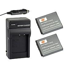 DSTE® 2x KLIC-7004 Battery + DC30 Travel and Car Charger Adapter for Kodak EasyShare M2008 V1273 V1233 V1253 Zi8 Zi12 PlayFull Dual PlaySport PlayTouch Pentax Q7 Q10 Q-S1 Camera as NP-50 D-li68
