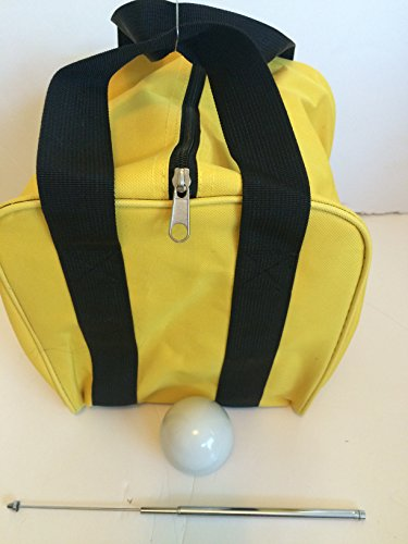 Unique Bocce Accessories Package - Extra Heavy Duty Nylon Bocce Bag (Yellow with Black Handles), White pallina, Extendable Measuring Device by BuyBocceBalls