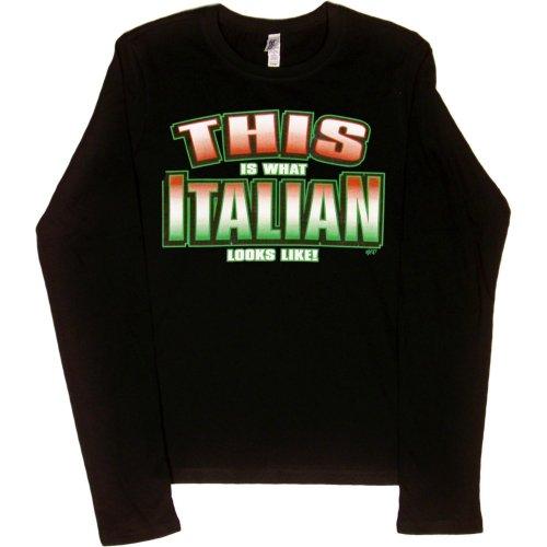 JUNIORS L/S T-SHIRT : BLACK - L - This is What Italian Looks Like - Ethnic -