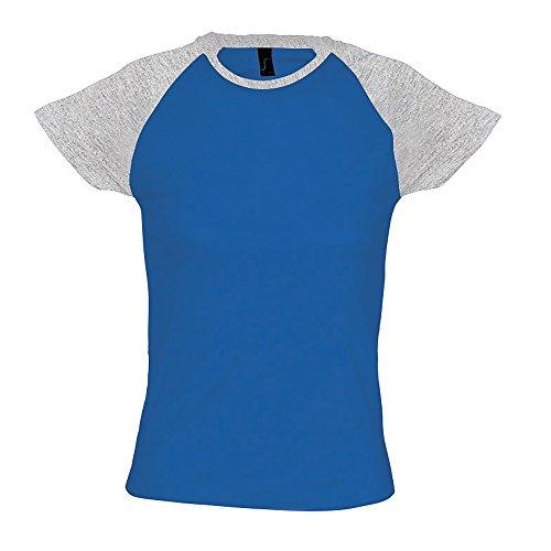 SOLS- Camiseta Milky de manga corta bicolor para chica/mujer Azul royal/Gris sport