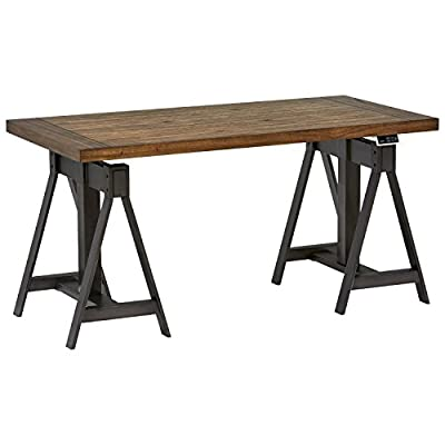 """Amazon Brand – Stone & Beam Industrial Metal Office Computer Desk, 60""""W, Power Sit to Standing Table, Brown/Black - You'll love this sawhorse desk that adjusts for sitting or standing, thanks to a motorized lift top. A rustic wood top is mounted on industrial metal with an antiqued finish. Two USB ports allow you to charge devices while working. 30""""L x 60""""W x 30""""H Wood composites with Mindi wood veneer; metal legs with antiqued finish - writing-desks, living-room-furniture, living-room - 41fy4gvG%2BLL. SS400  -"""