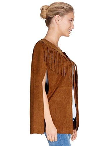 Cherry Paris Promo Mujer -40% Cape/Poncho Esha en materia ante con flecos con sellado de nudos, al nivel de la cuello camello