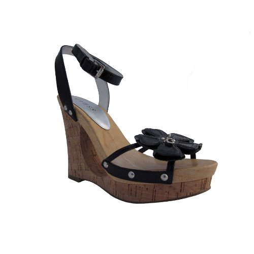 GUESS Women's Eternal 2 Wedge Sandal,Black/Clear/Black,10 M US (Patent Leather Sandals Guess)