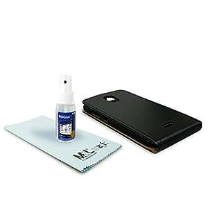 Funda de cuero - Flipcase + ROGGE® Touchi - All Natural Displaycleaner - 50ml - para Wiko DARKMOON - negro | black | Paño de limpieza de microfibra