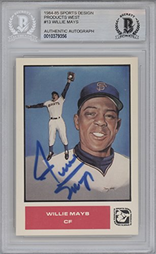 Willie Mays Autographed 1985 Sports Design Card #13 San Francisco Giants Beckett BAS #10379356