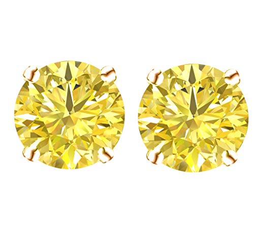 14k Gold Butterfly Backings & Rose Gold Overlay Sterling Silver Basket Settings Round Cubic Zirconia Simulated Canary Stud Earrings 5.00ctw