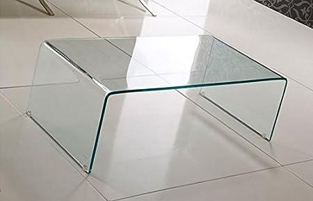 Mesa de cristal templado transparente, mesa de centro de cristal ...