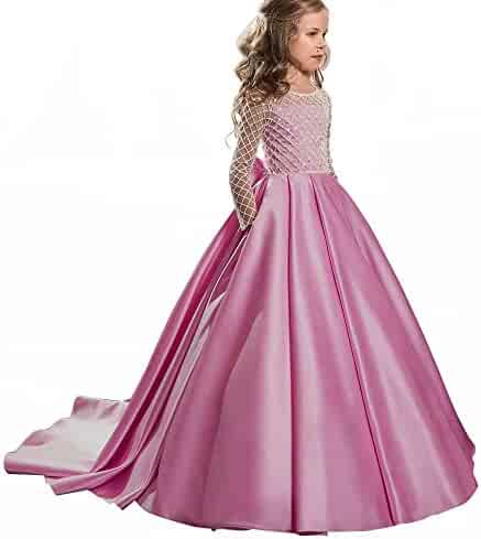 79ce5d49c5b9 AbaoSisters Christmas Fancy Flower Girl Dress Floor Length Button Draped  Pink Long Sleeves Tulle Ball Gowns