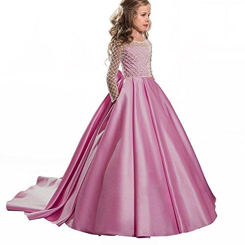 Christmas Fancy Flower Girl Dress Floor Length Button Draped Pink Long Sleeves Tulle Ball Gowns for Kids (Custom Size, Fuchsia) -