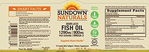 Sundown Naturals Naturals Odorless Premium Omega-3 Fish Oil, 72 Softgels (Pack of 2) Total 144 by Sundown Naturals