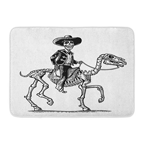 Emvency Doormats Bath Rugs Outdoor/Indoor Door Mat The Rider in Mexican Man National Costumes Galloping on Skeleton Horse Dia De Los Muertos Vintage Bathroom Decor Rug 16