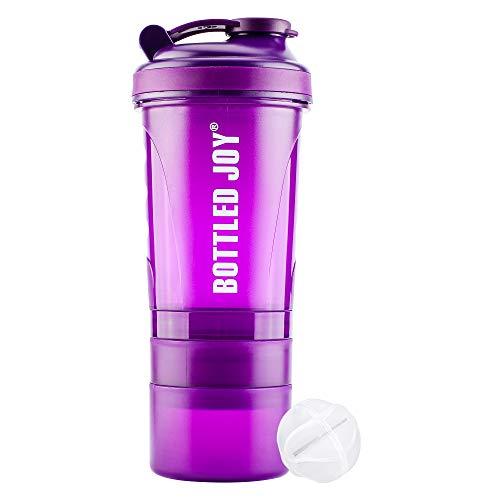 BOTTLED JOY Protein Shaker Bottle with 3-Layer Twist and Lock Storage, 100% BPA-Free Leak Proof SportMixer Fitness Sports Nutrition Supplements Non-slip Mix Shake Bottle 20oz 600ml (Violet)