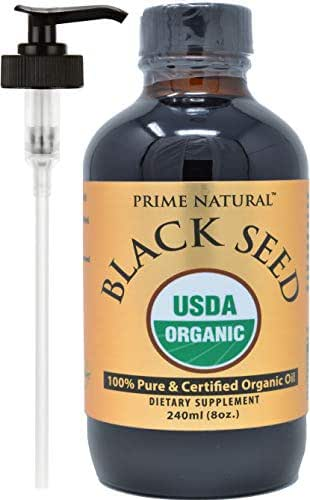 Organic Black Seed Oil - 8oz USDA Certified - Cold Pressed, Virgin, Unrefined, Vegan, Non-GMO, No Preservatives - Pure Nigella Sativa - Omega 3 6 9, Antioxidant for Immune Boost, Joints, Skin & Hair